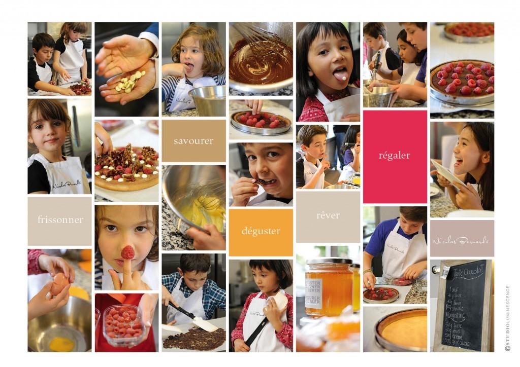 Recettes, gourmandises et enfants ravis de participer aux cours de Pâtisserie de Nicolas Bernardé