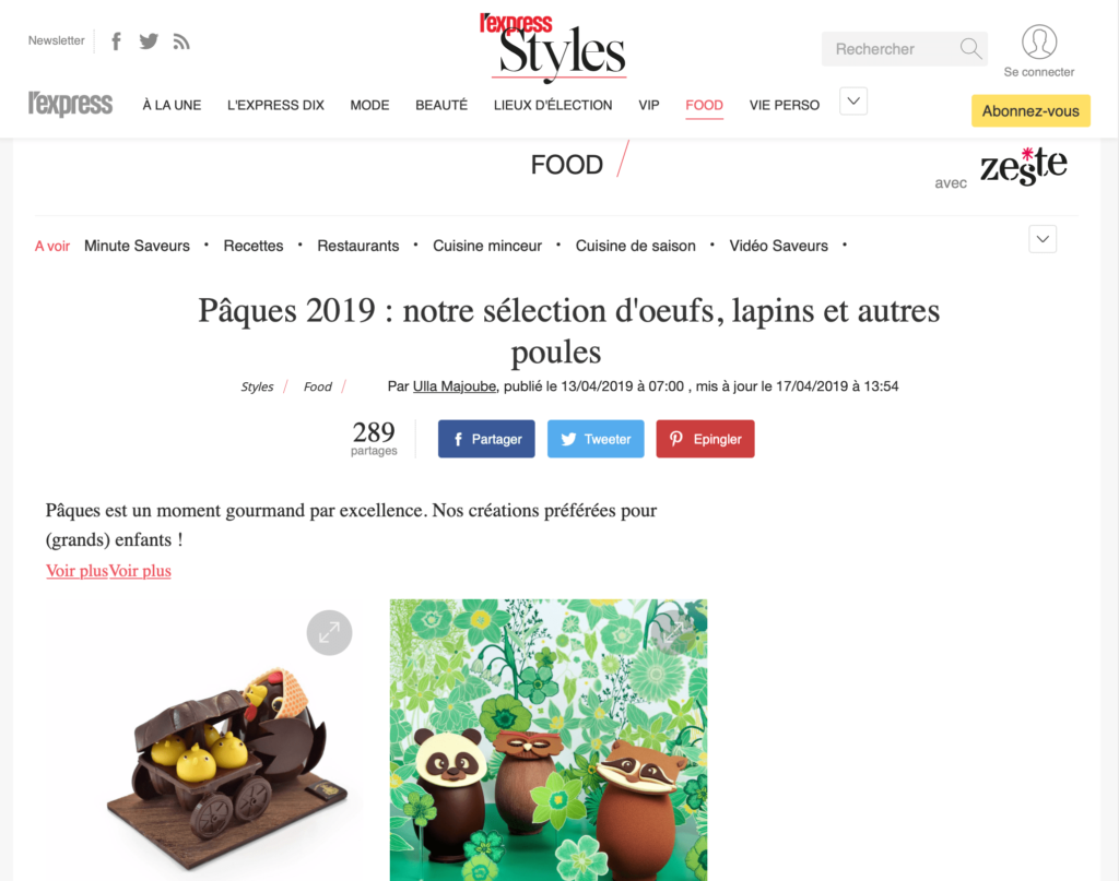 Article de l'Express Style cahier Food