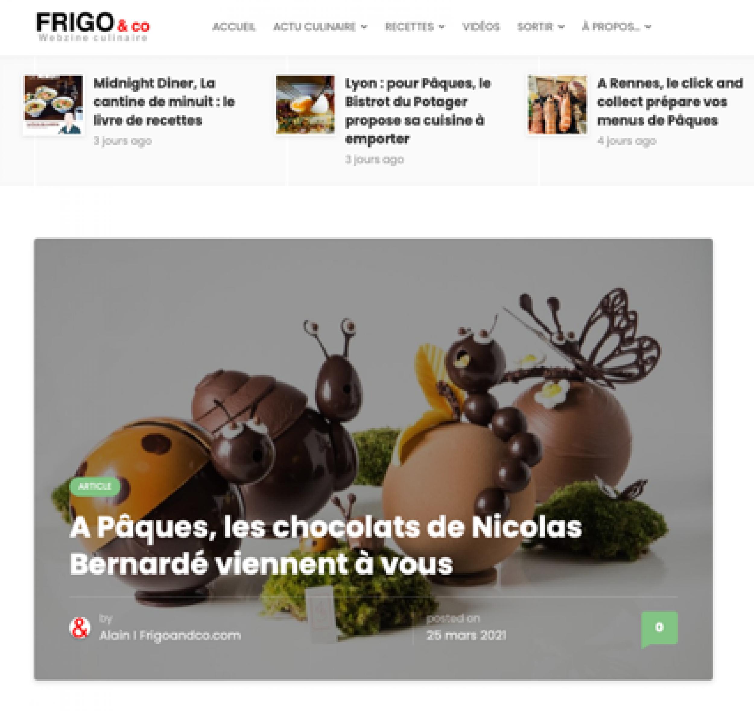 A Pâques, les chocolats de Nicolas Bernardé viennent à vous - Frigoandco.com