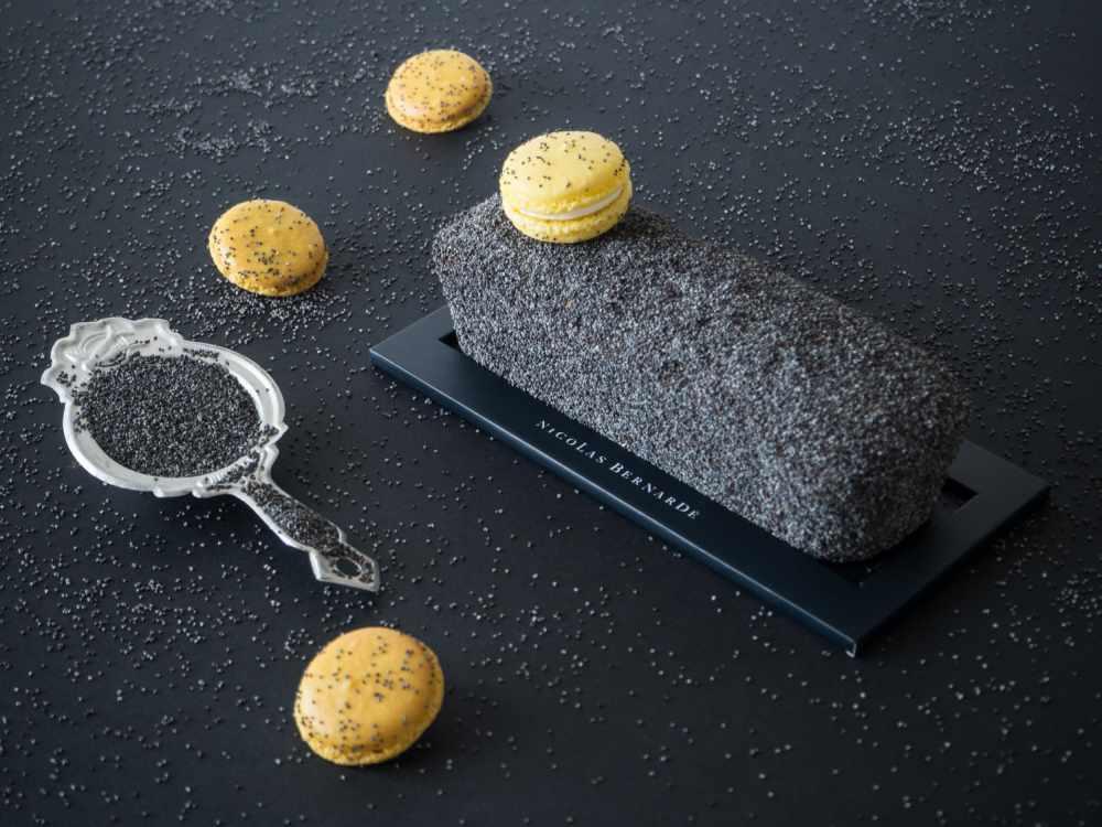 Cake citron pavot et macarons