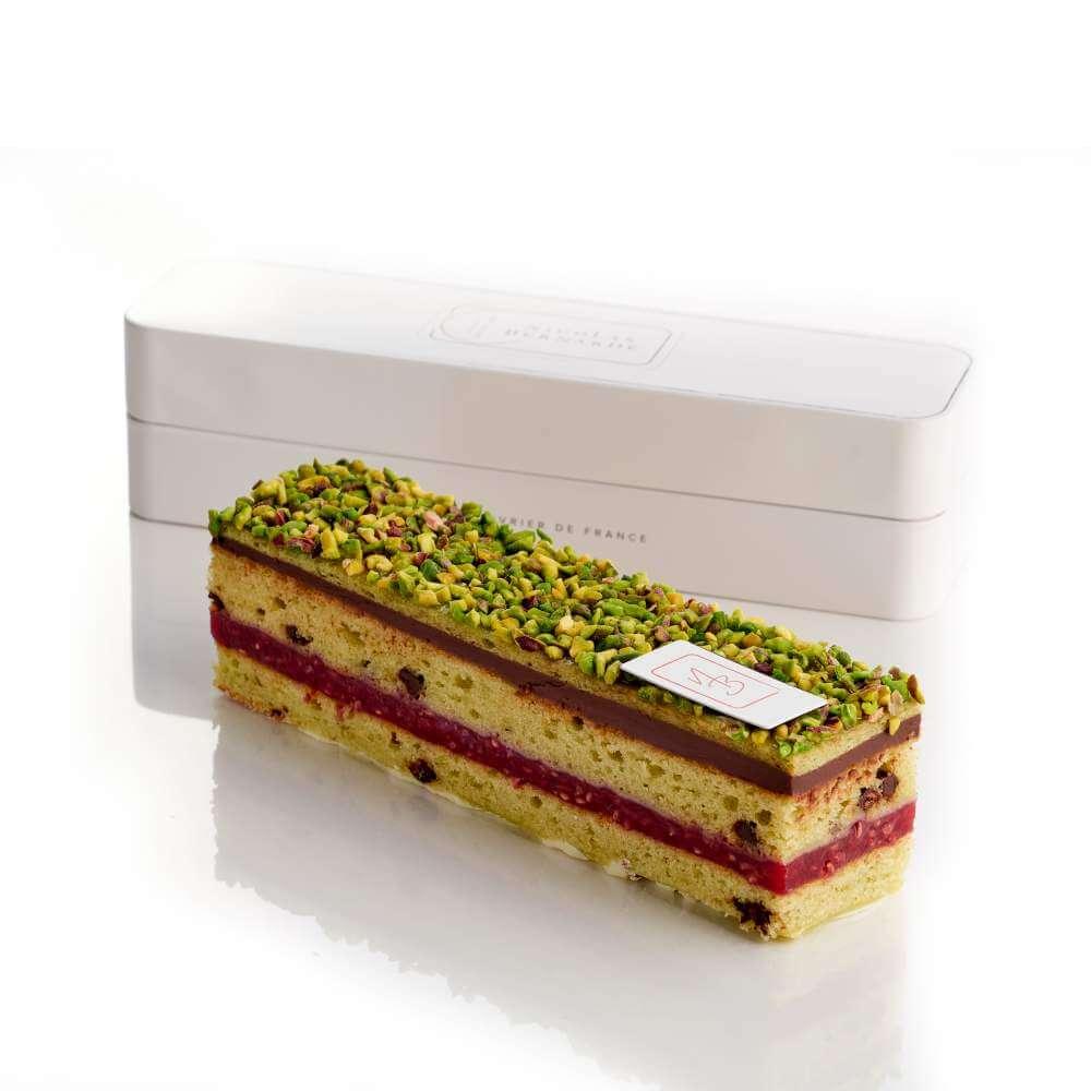 Cake de poche chocolat pistache et framboise
