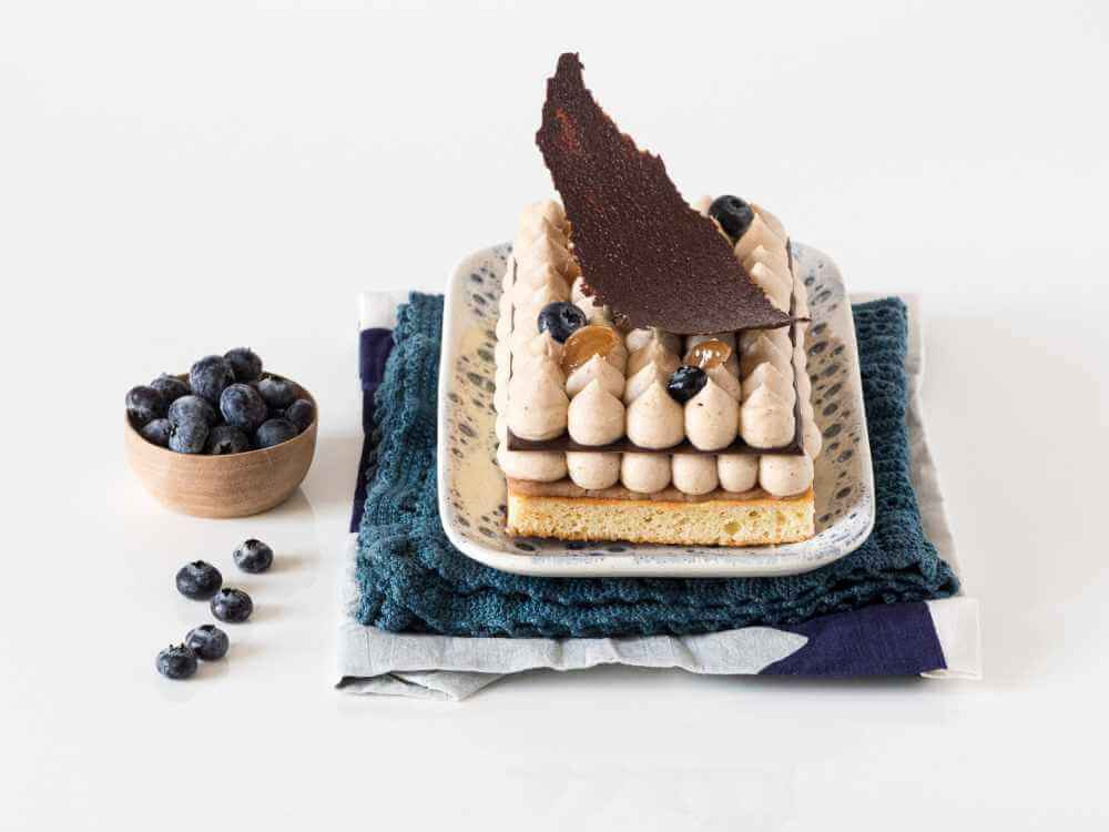 Entremets marron myrtilles