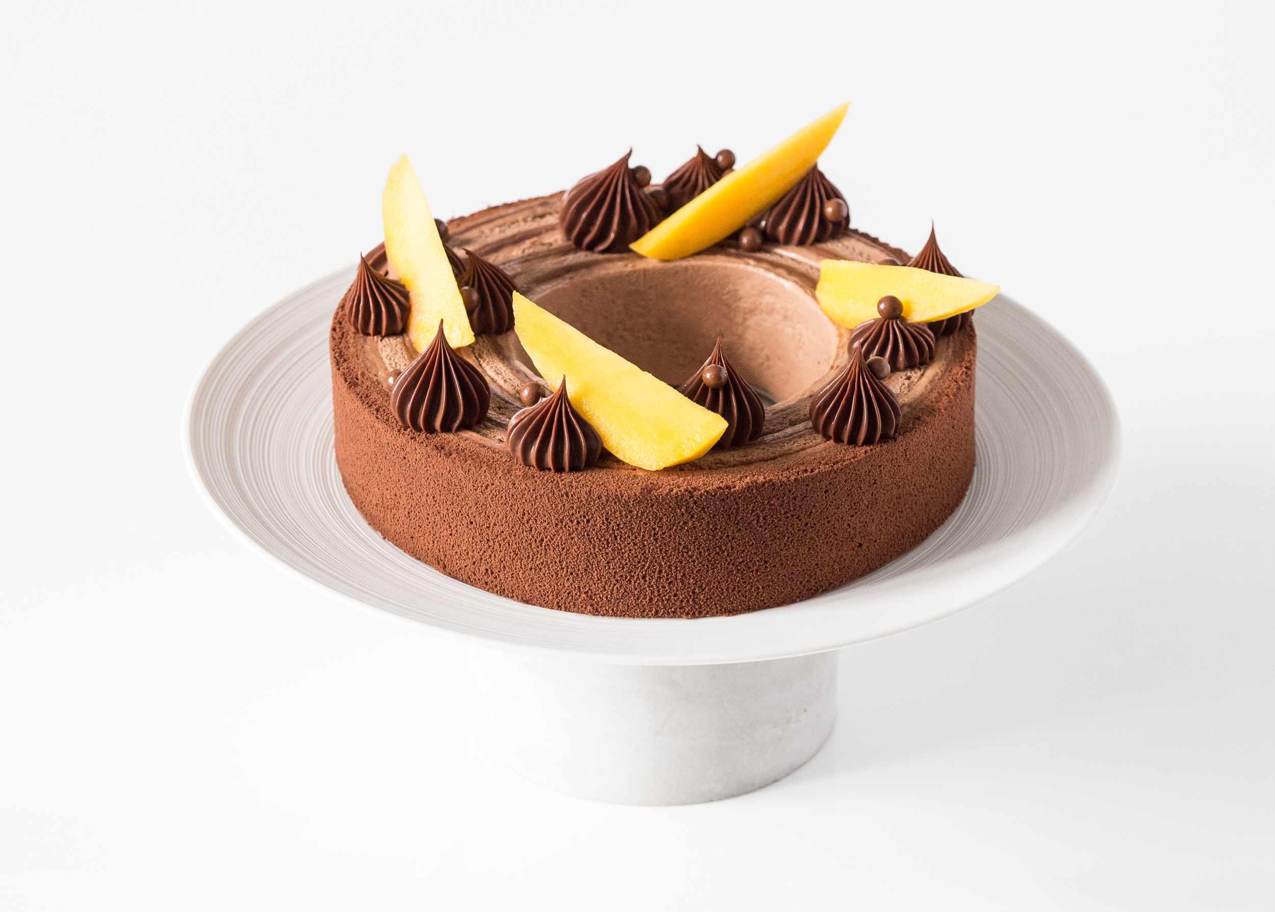 entremets roulé mangue chocolat