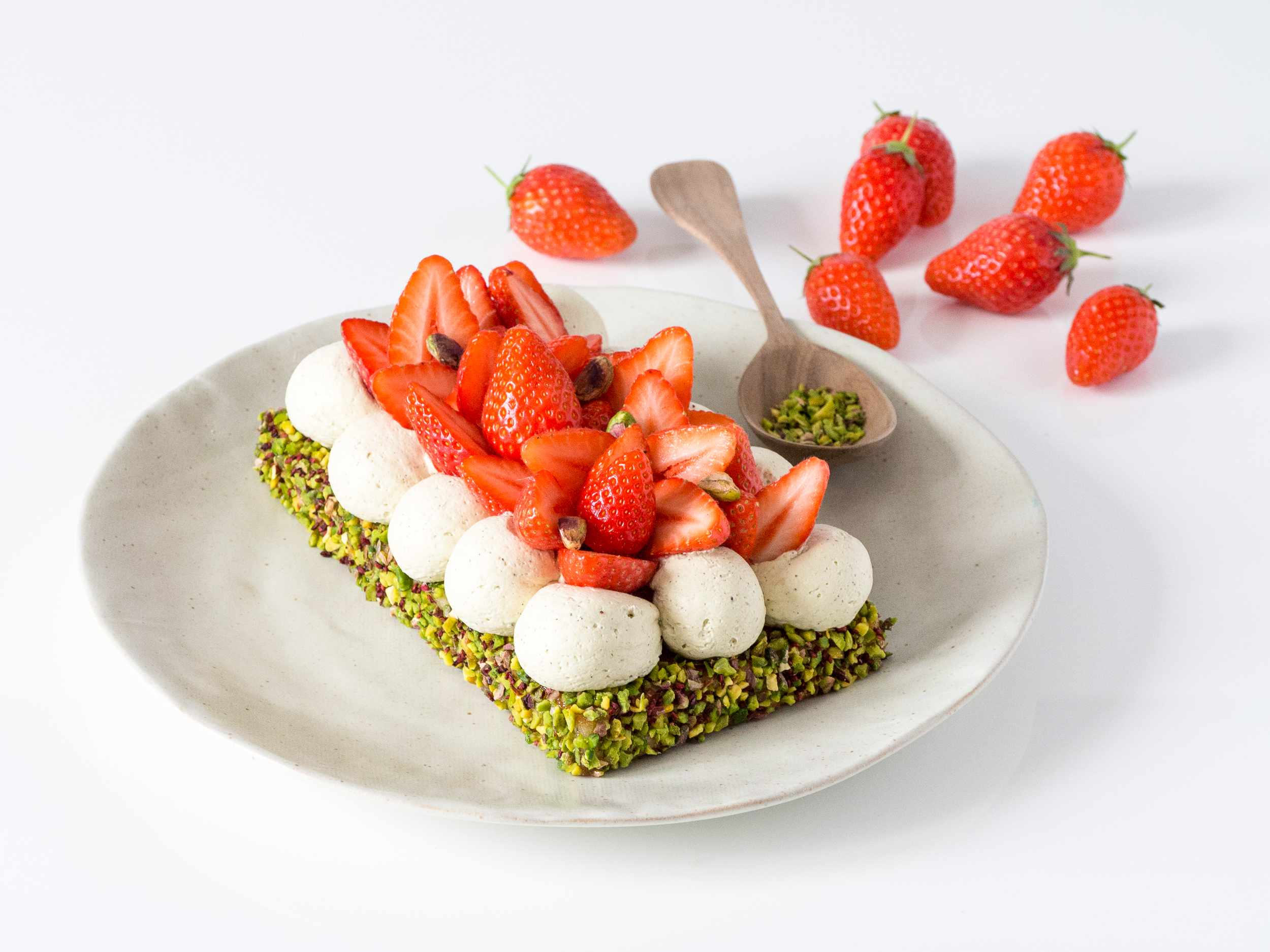 Papa pistache : entremets fraise pistache-3908
