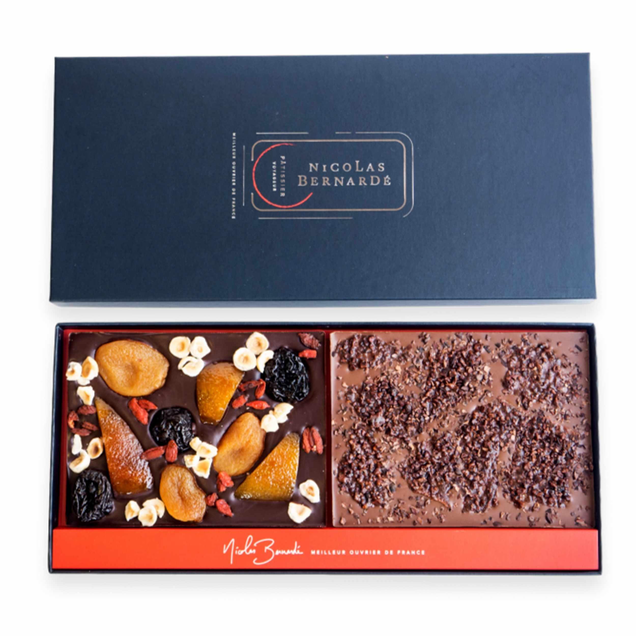 Tablette chocolat fruits confits et grué de cacao