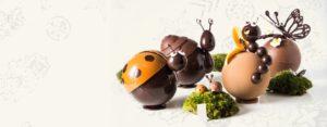 Famille d'insectes en chocolat créés pour Pâques