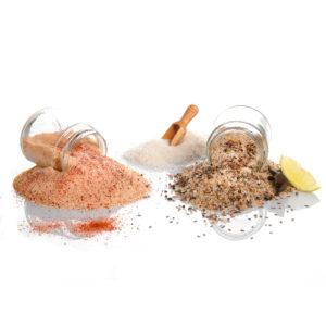 Collection de sucres, sels et poivres composés par des artisans