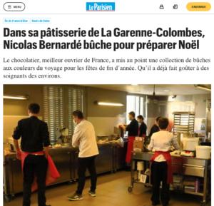 Article du Parisien - Nicolas Bernardé bûche pour préparer Noël