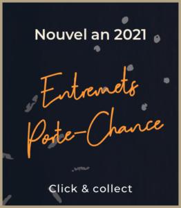 Entremets du nouvel an 2021 en clic and collect, typographie blanche et orange sur fond sombre