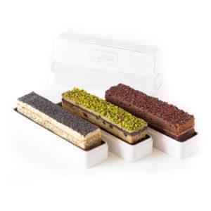 Collection de trois cakes de poches créés par le Meilleur Ouvrier de France Pâtissier-confiseur Nicolas Bernardé