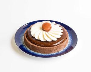 Entremet chocolat, vanille et framboise