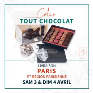 Colis de délices pour Pâques. des chocolats livrés à domicile par coursier le 3 et 4 avril 2021