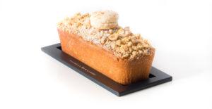 Cakissime poussin : cake surmonté d'un crumble, pâte citron noisette