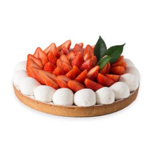 Tarte vanille recouverte de fraises